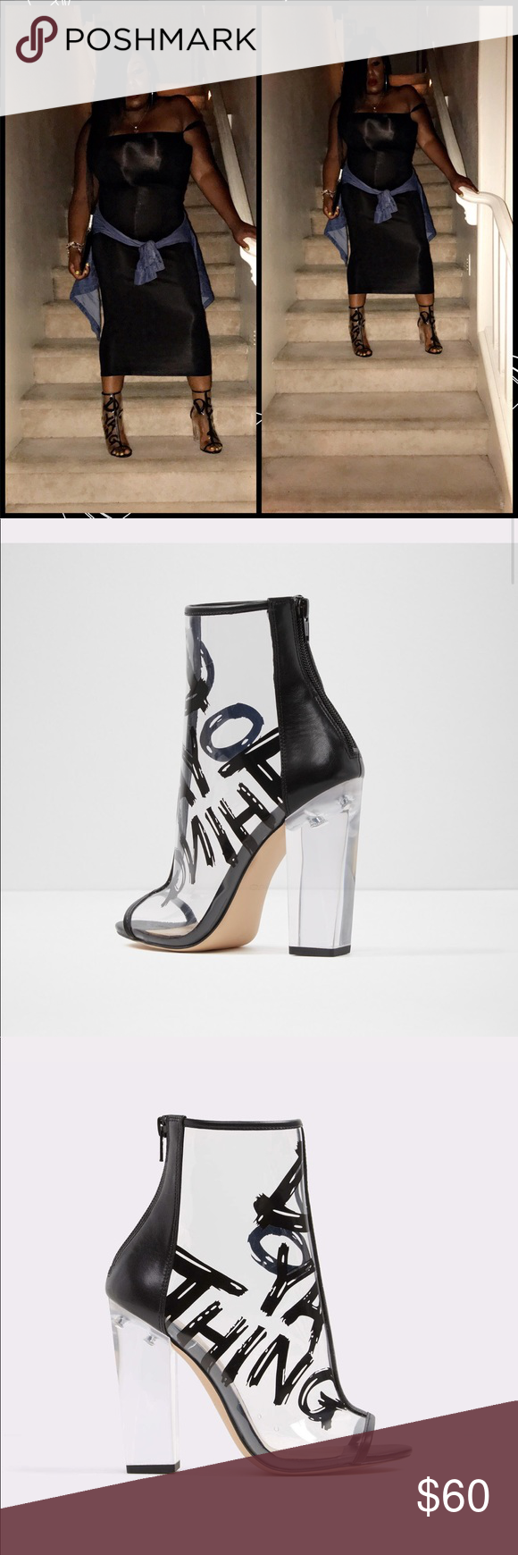 ba1ef277d06 Aldo Open Toe Gaby This shoe is in store now !!!! The shoe is clear and read