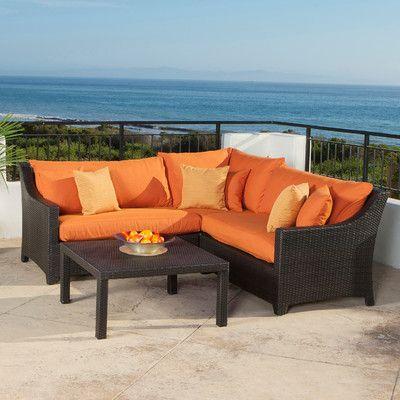 three posts northridge 4 piece sunbrella sectional seating group rh pinterest at