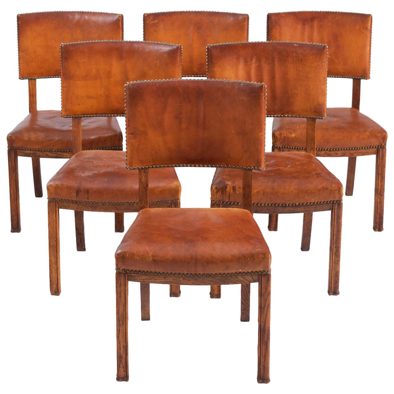 Danish set of cognac leather dining chairs from a unique