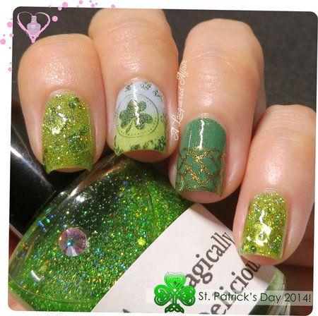 St. Patrick's Day Nails 2014  #nails #nailart #green #polish - bellashoot.com