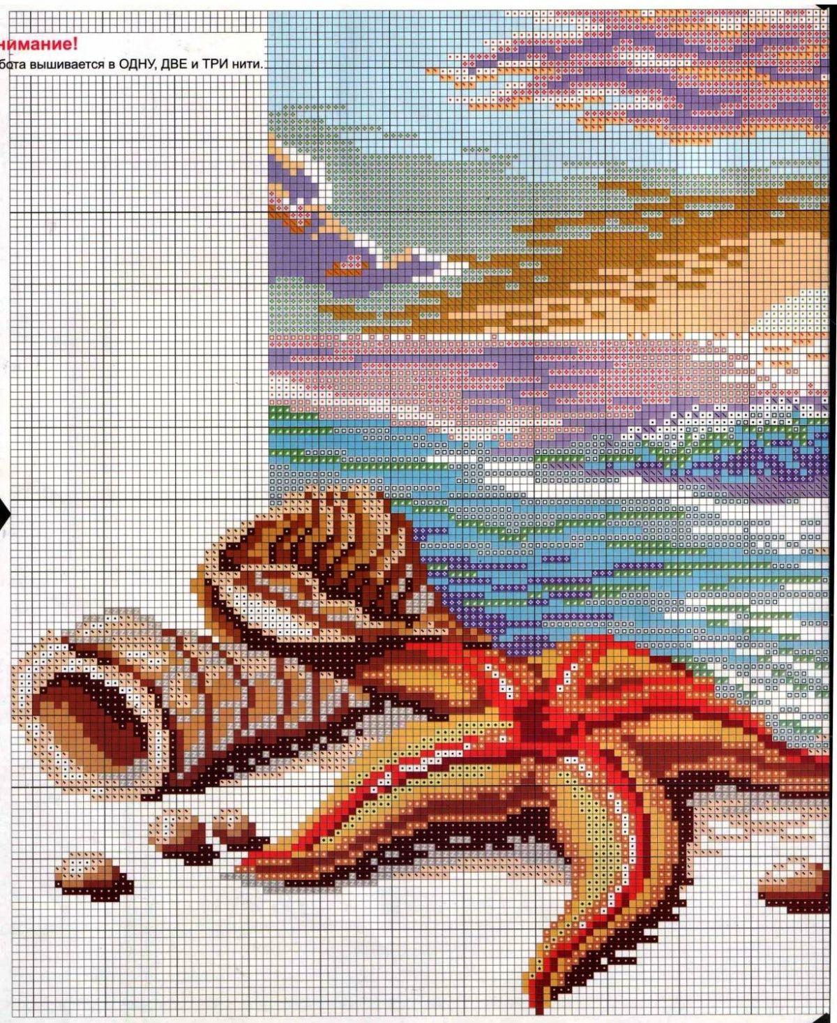 морские картинки крестиком этом