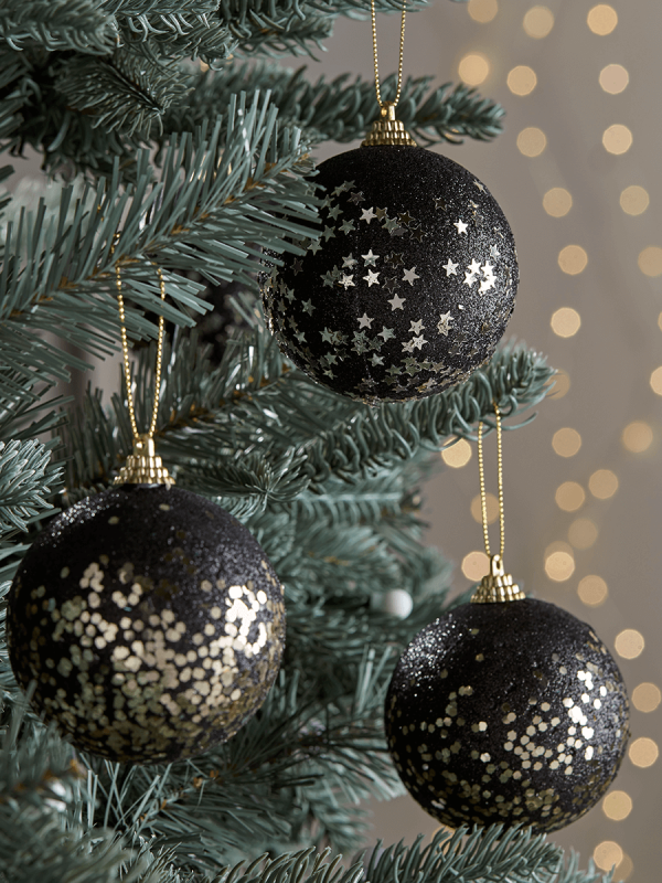 NEW Twelve Glittered Black Baubles
