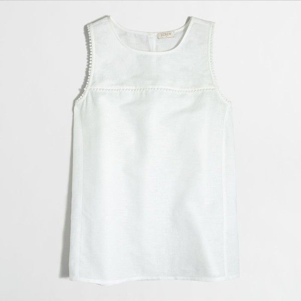 11001a2f95b J.Crew Factory crosshatch linen-cotton tank top ( 45) ❤ liked on Polyvore  featuring tops
