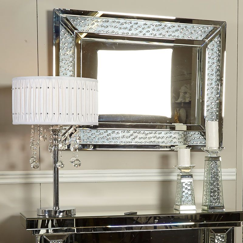 Floating Crystal Rectangle Wall Mirror Large Mirror