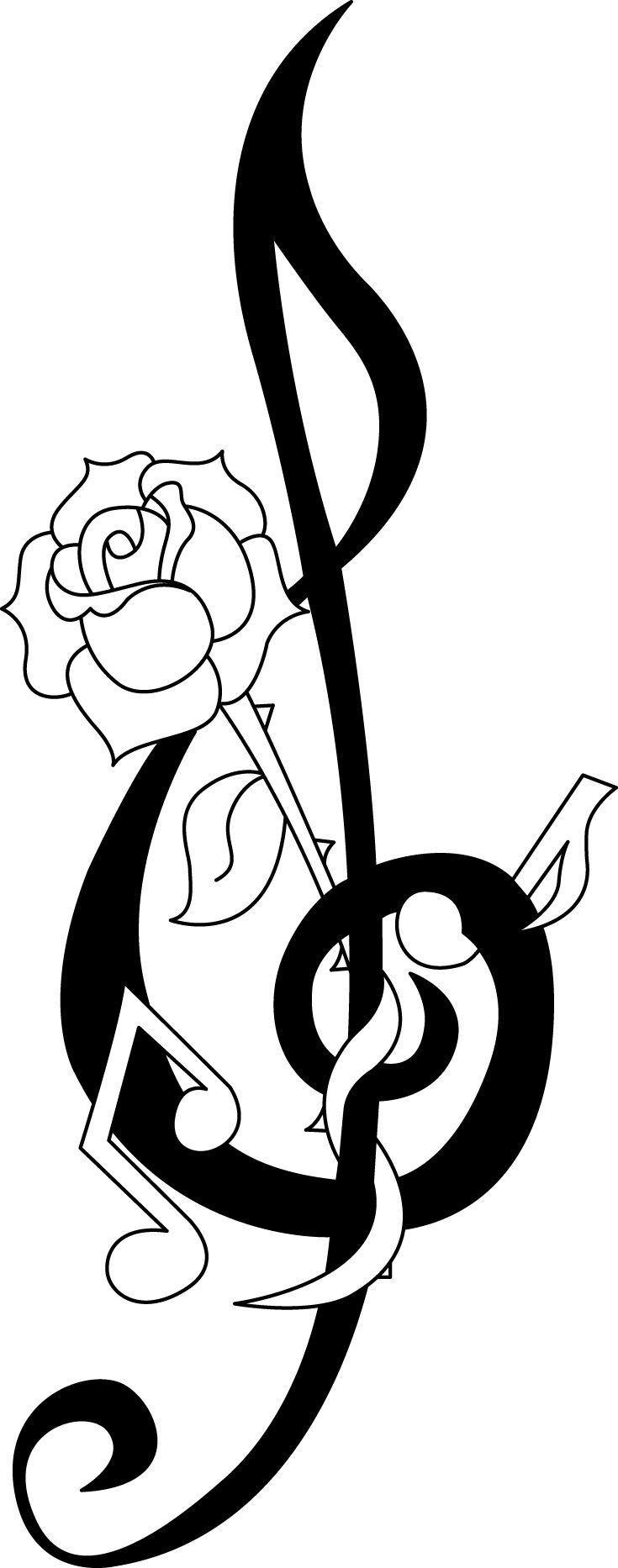 music rose tribal tattoo music note pinterest tattoo tatoo and stenciling. Black Bedroom Furniture Sets. Home Design Ideas