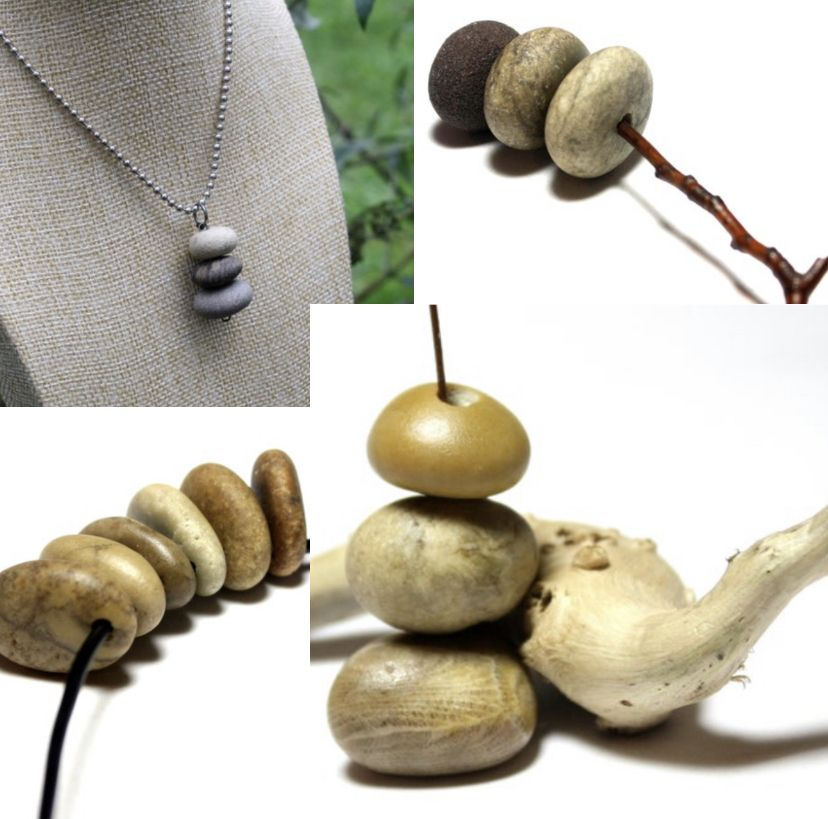 DIY Natural Supplies for Jewelry Bead Beach Pebble Beads Rock Jewelry Linked Bead Double Drilled Beach Stone Links River Stone Craft Beads