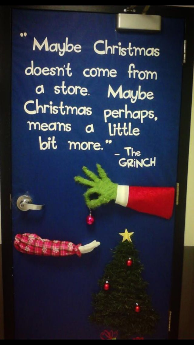 Grinch Door Decor Holiday Decore Pinterest Christmas Door