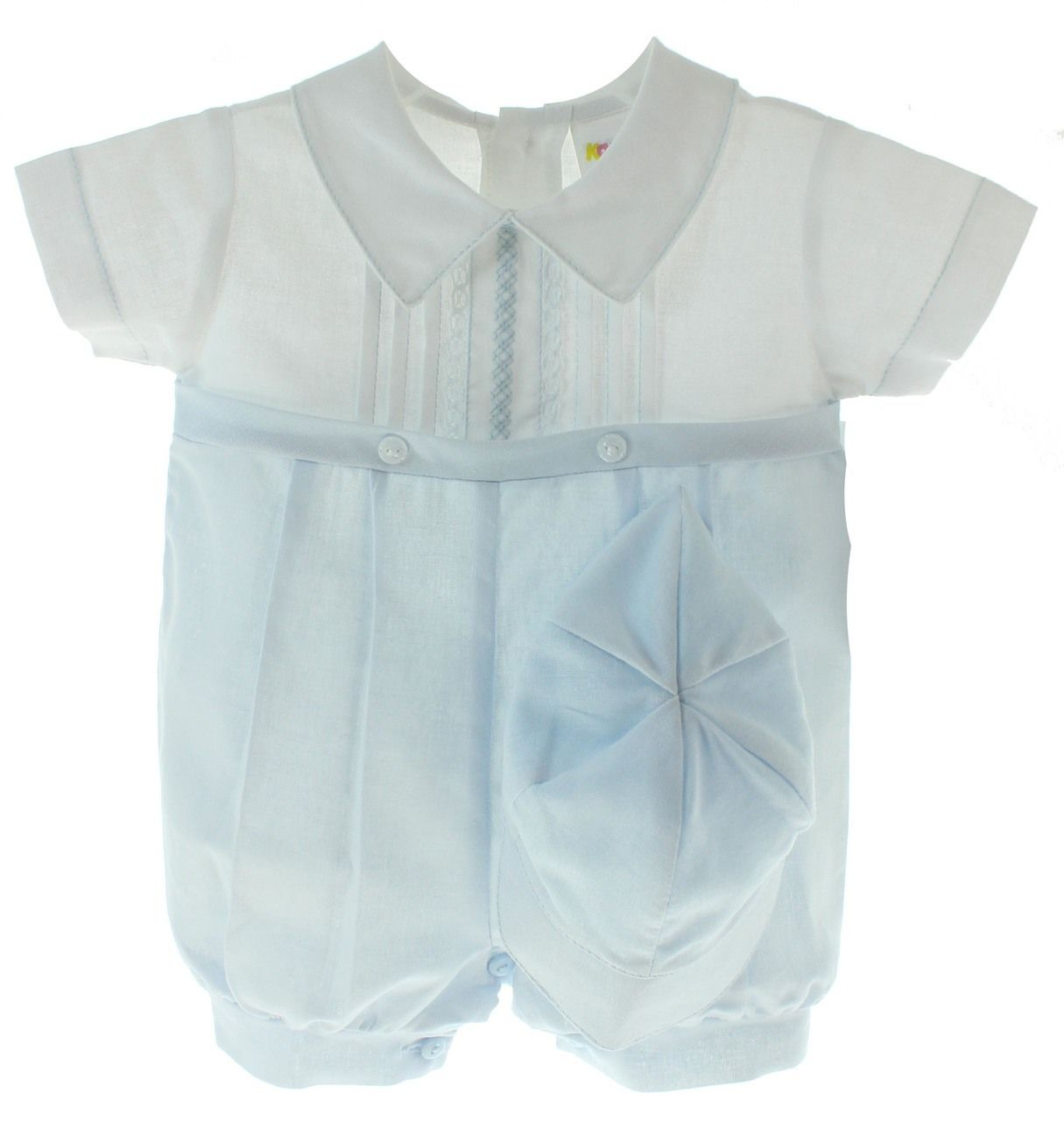 71de46606554 Baby Boys Linen Christening Outfit - Baby Boys Blue White Dressy Linen  Romper with Hat