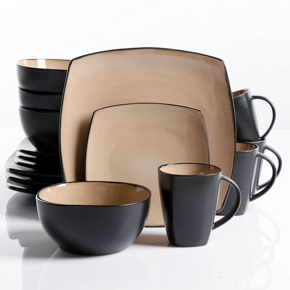 16-Piece Dinnerware Set Stoneware Kitchen Dinner Plates Bowls Mugs Dishes Taupe