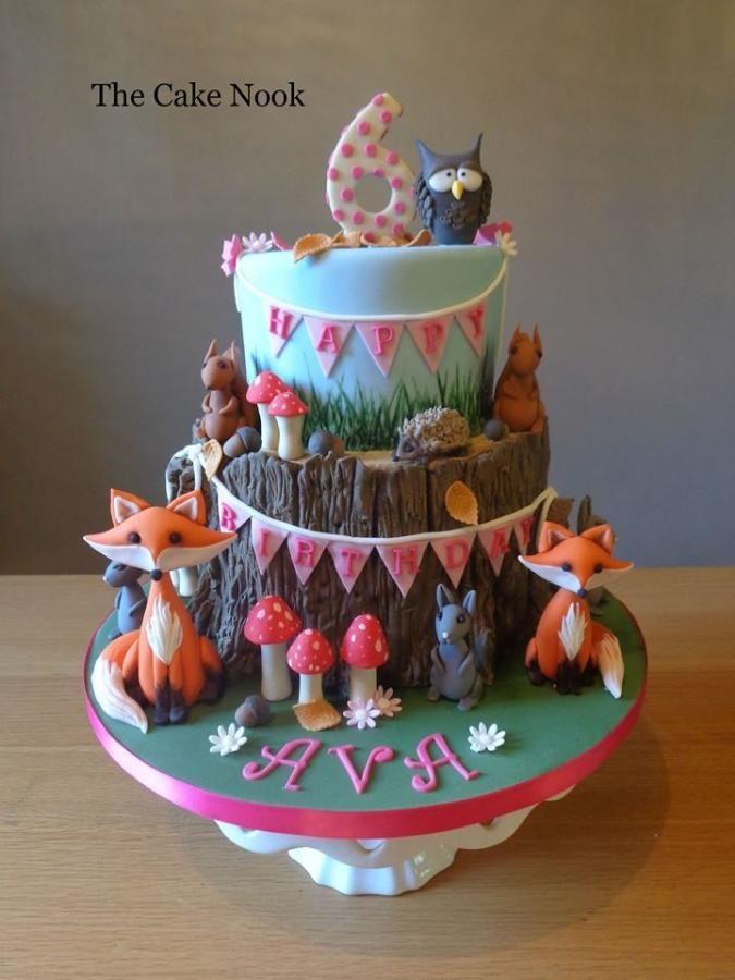 Woodland Animals Birthday Cake By Zoe Robinson Owl Themed Cakes