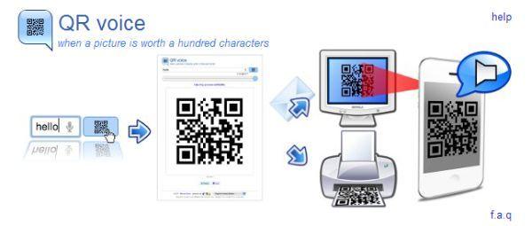 QR voice genereer een QRcode die tegen je praat (via