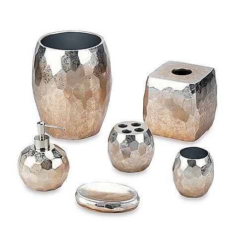 Metallic Bathroom Accessories. Hudson Park Hammered Metal Bath ...