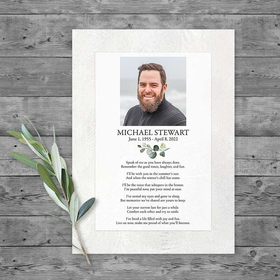 Funeral Tribute Card Template With Photo And Poem For A Celebration Of Life Memorial Cards For Funeral Funeral Tribute Funeral Tributes