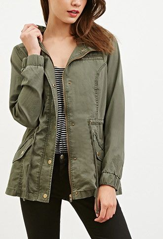 Hooded Drawstring Utility Jacket Forever 21 Ropa Ropa Chaqueta Militar Mujer