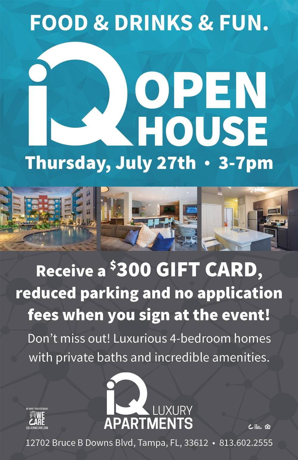 Open House This Thursday In Tampa At Iq Luxury Apartments For More Information Call 813 602 2555 Livesmart Florida Apartments Luxury Apartments Open House