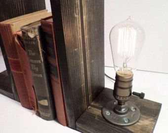 ON SALE Edison Book end Lamp in Weathered - Book light - Gorgeously finished wood bases - New york loft industrial style