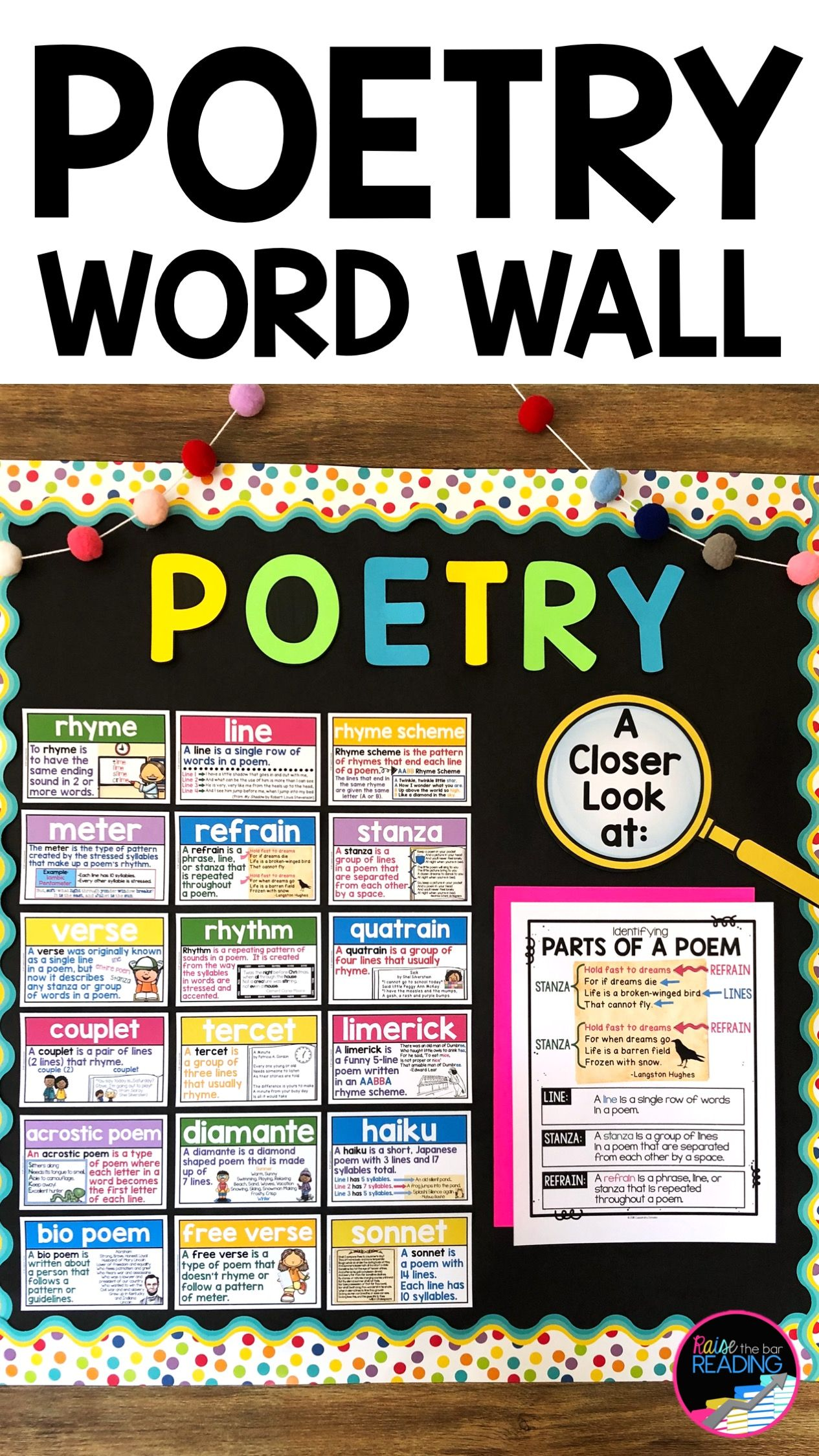 Poetry Word Wall Cards 30 Half Page Vocabulary Posters