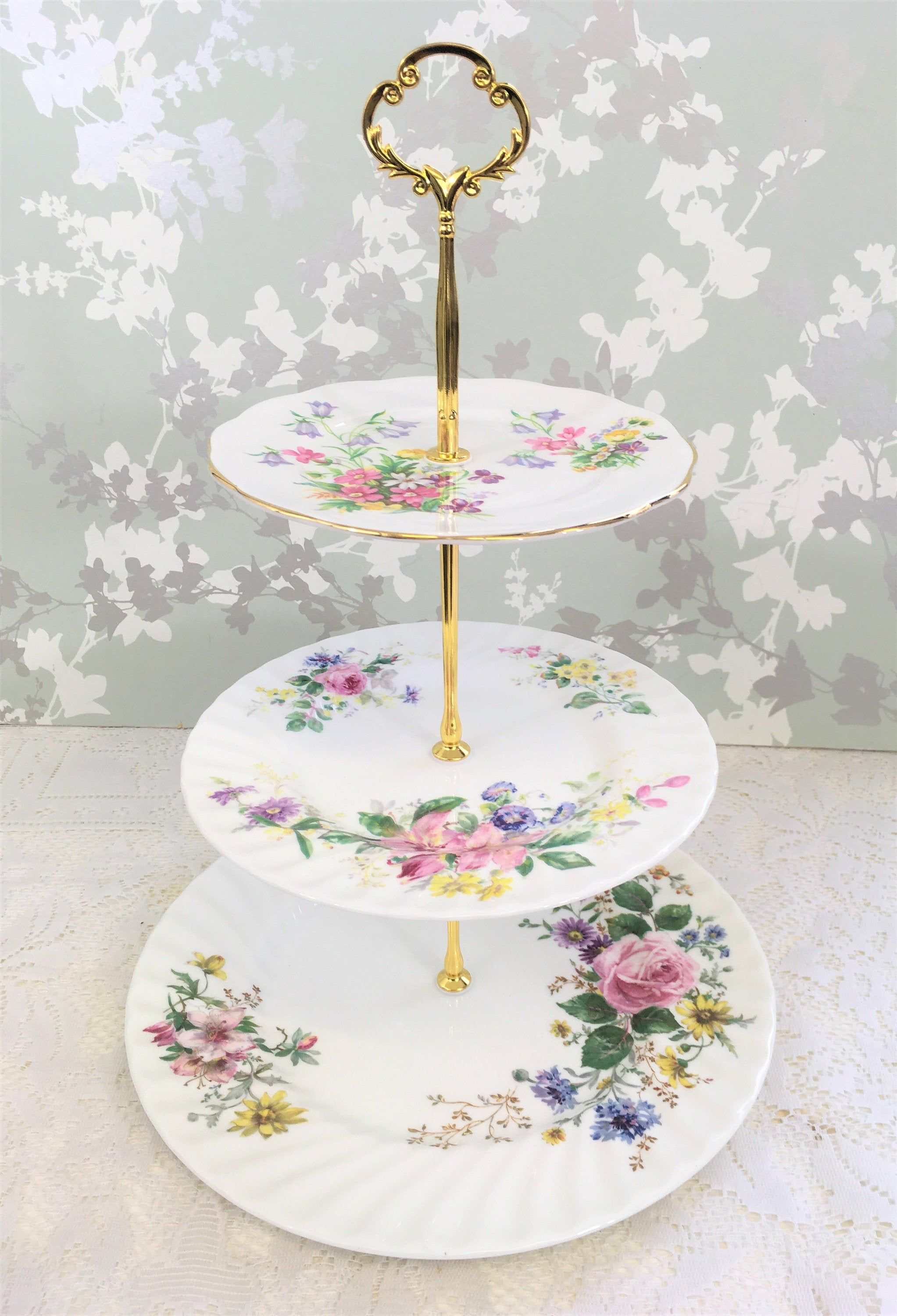 Large 3 Tier Cake Stand Spring Bouquet In 2020 Tiered Cakes 3