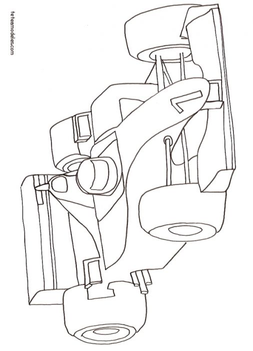 Coloriage Voiture Course F1 Numéro 1 Activité Enfant Idée Déco