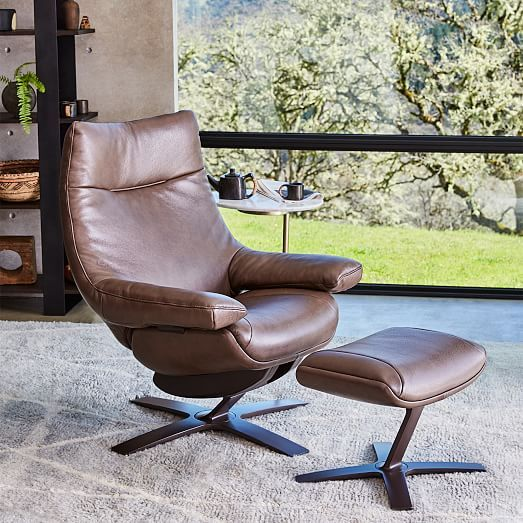 Natuzzi Re Vive Leather Recliner + Ottoman Set   Leather