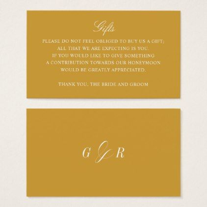 Gift Registry Honeymoon Fund Wedding Gold Monogram Business Card Gifts Giftidea Ideas