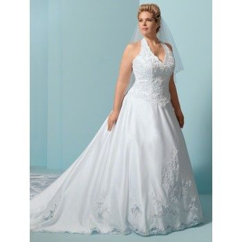 White Beaded Lace Halter Top Wedding Dress Plus Sizes Woman