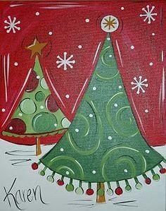 Cute Christmas Tree Canvas Paint Idea For Wall Decor Painting Art