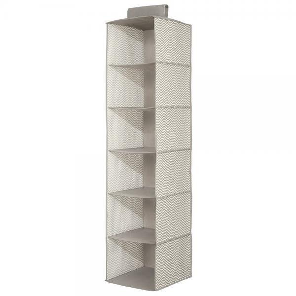 Axis Storage 6-Shelf Sweater Organizer - Taupe/Natural / Chevron Fabric / 6-Shelf