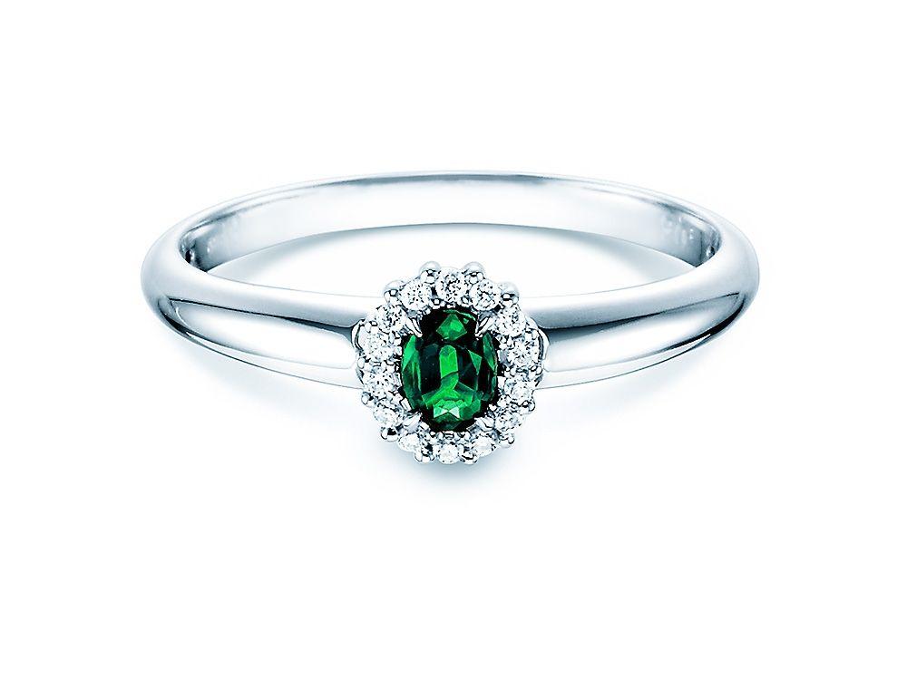 Verlobungsring Smaragdring mit Diamanten 0 06 ct 14K Weißgold