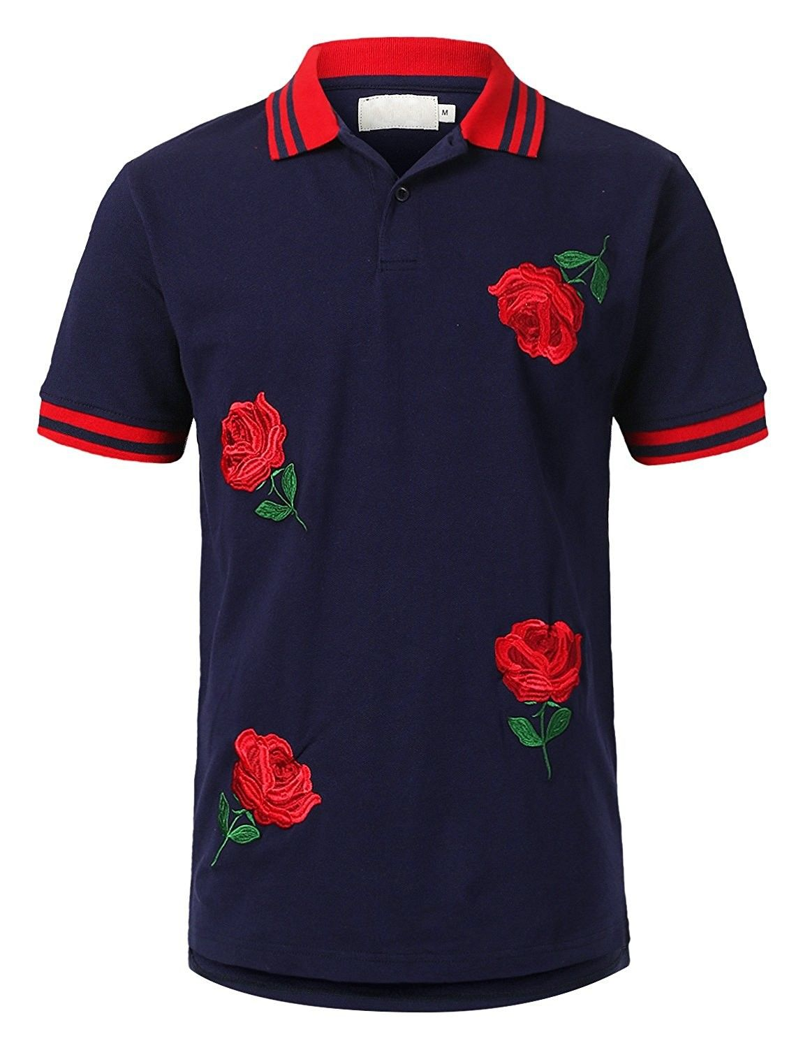 Mens Hipster Hip Hop Embroidered And Printed Polo T Shirt Various