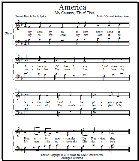 Another FREE Printable Sheet Music Version Of My Country