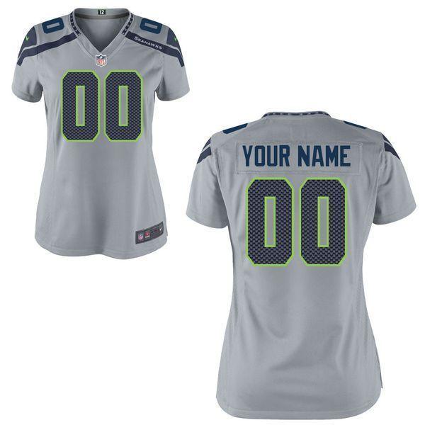 Women Seattle Seahawks Nike Custom Gray Game NFL Jersey  f65e88643