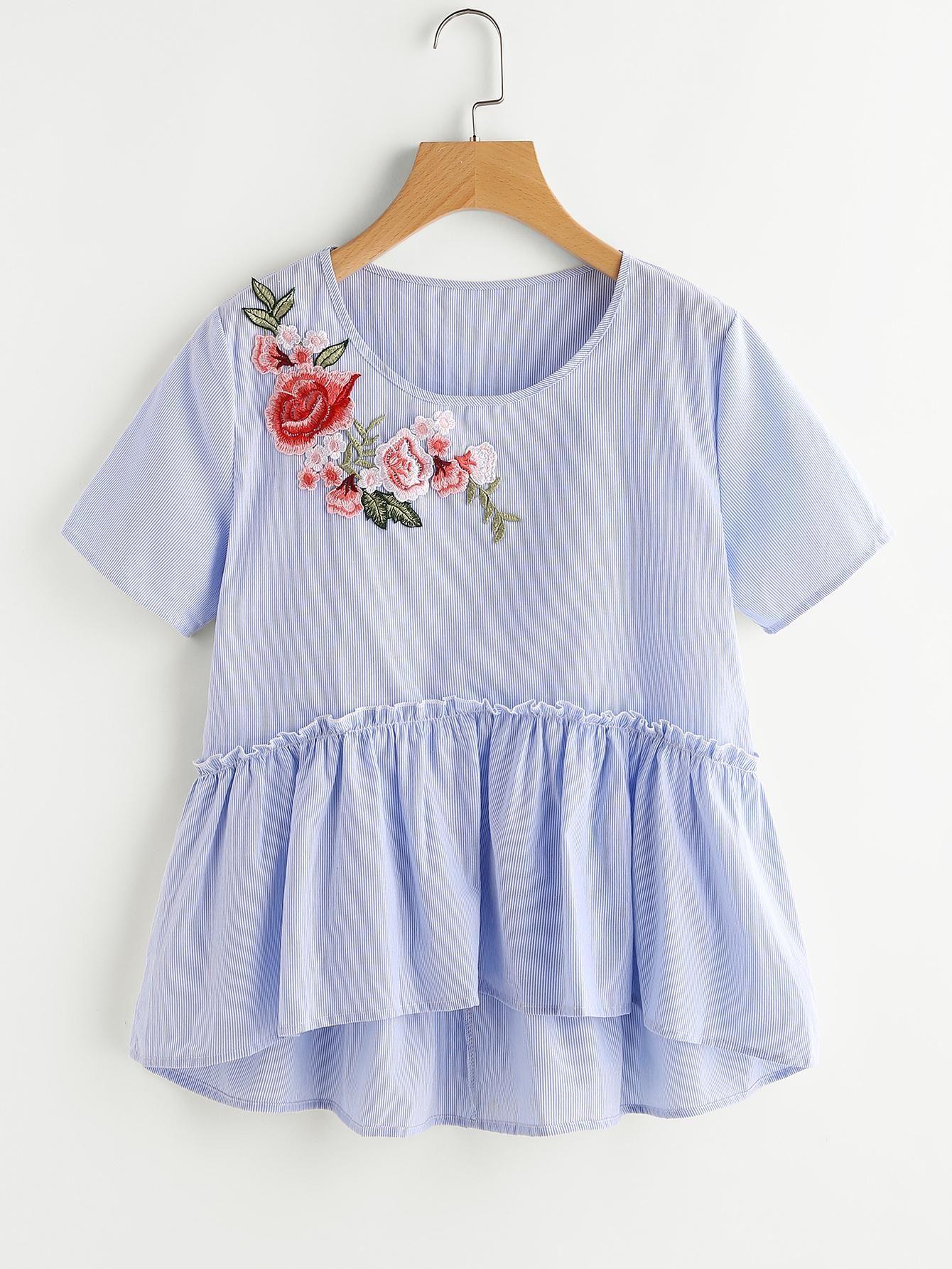 3edc3acffa102 SheIn - SheIn Applique Smock Top - AdoreWe.com | Cute Tops | Fashion ...