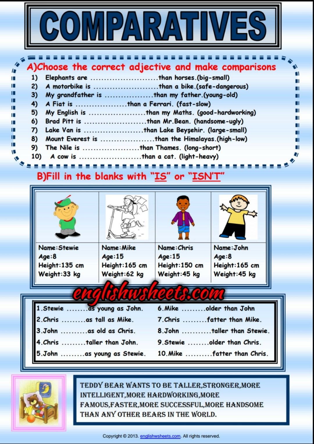 Comparative Forms Of Adjectives Exercises Handout For Kids Adjectives Grammar For Kids Adjectives Exercises Kinds of adjectives worksheets for