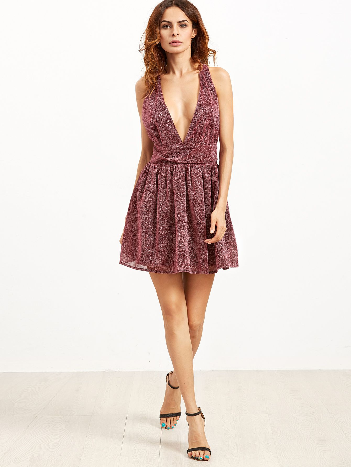 Burgundy Deep V Neck Sleeveless Sparkle Detail Party Dress -SheIn(Sheinside) 95feff5956d