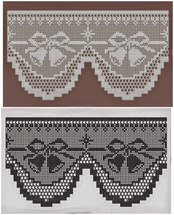 Crochet+y+dos+agujas:+Patrón+de+cenefa+en+crochet+filet+con+motivo+ ...