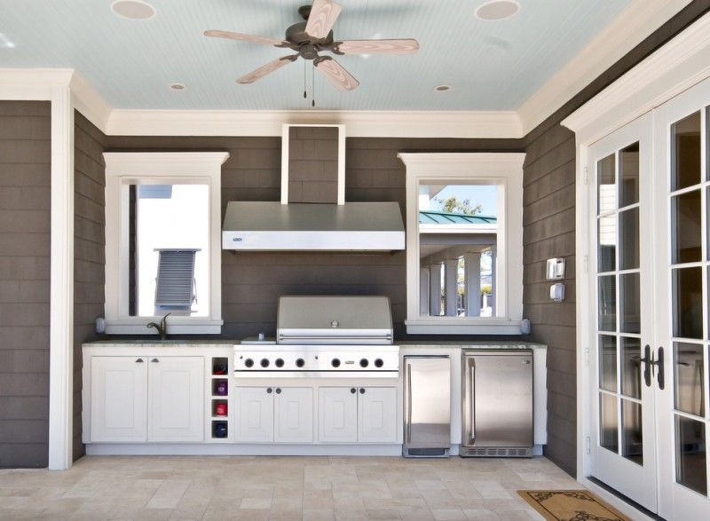 viking outdoor kitchen ceiling fan lights glass doors windows ...