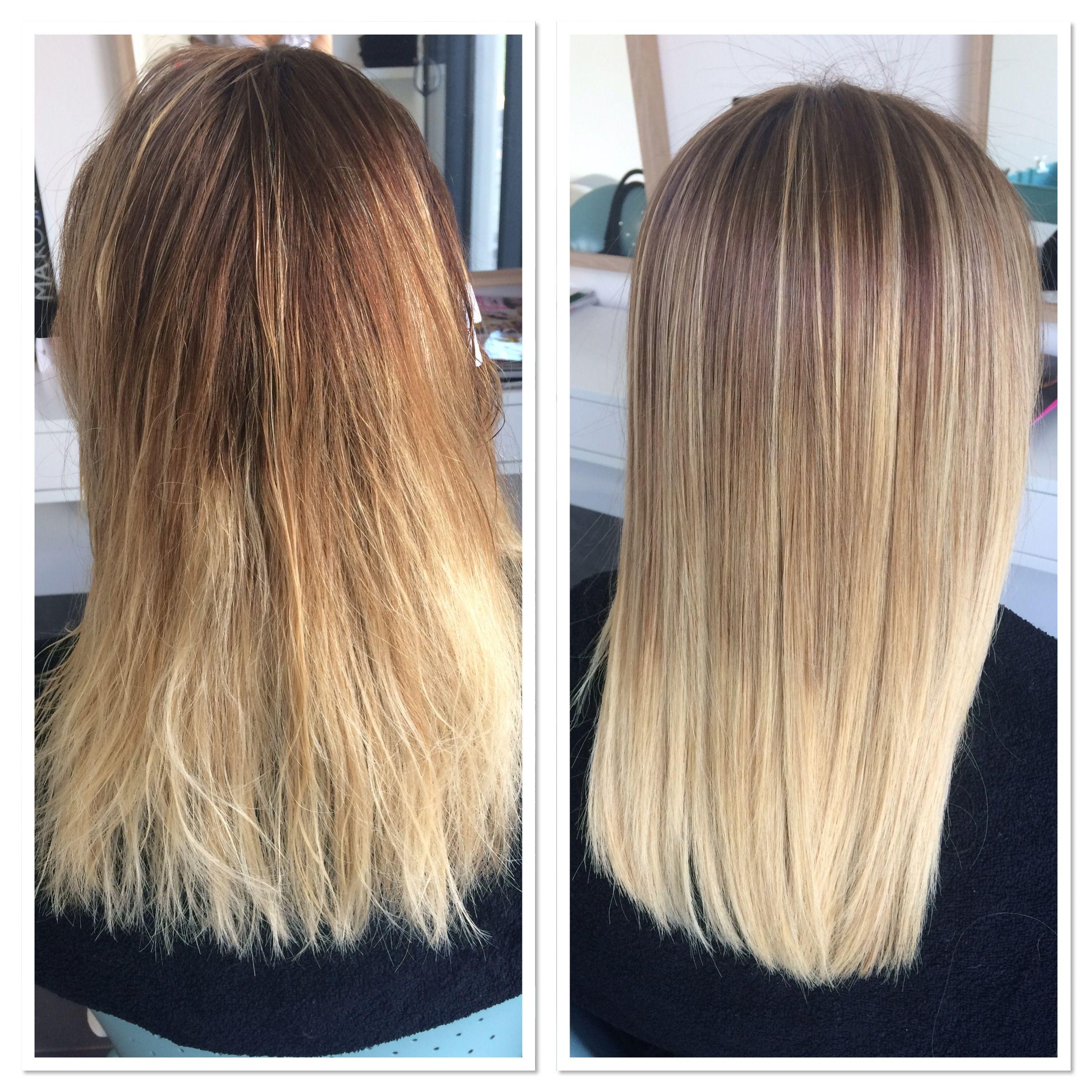 Enzymotherapy avant après sur cheveux blond ombré hair