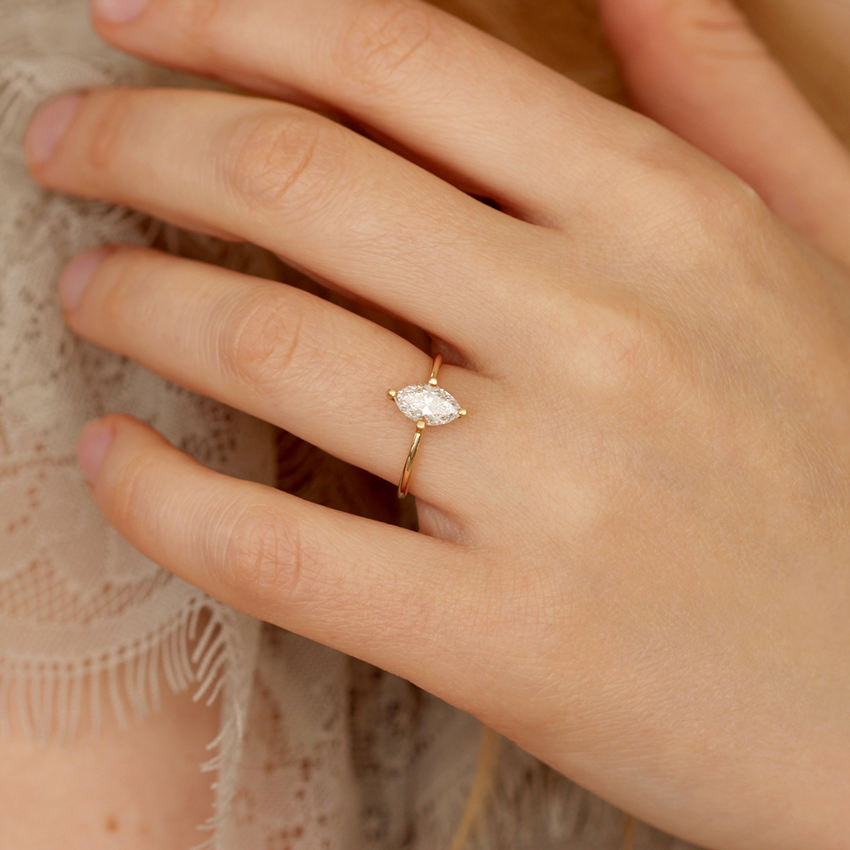 One Carat Marquise Cut Engagement Ring