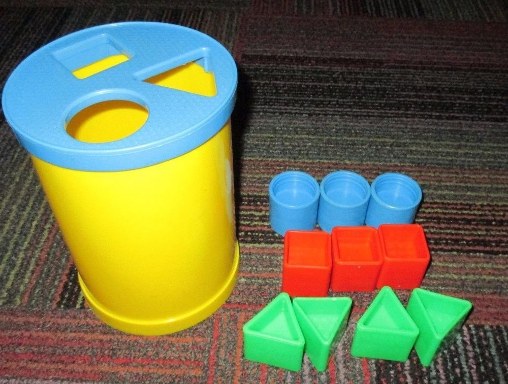 Fisher Price Brilliant Basics Baby S First Blocks Canister Shape Sorter Toy Guc Baby Toy Blocks Fisher Price Baby Toys Baby Plush Toys