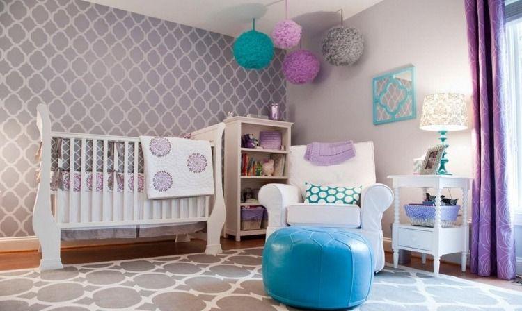 chambre enfant bleu, papiers peints gris taupe à motifs blanc ...