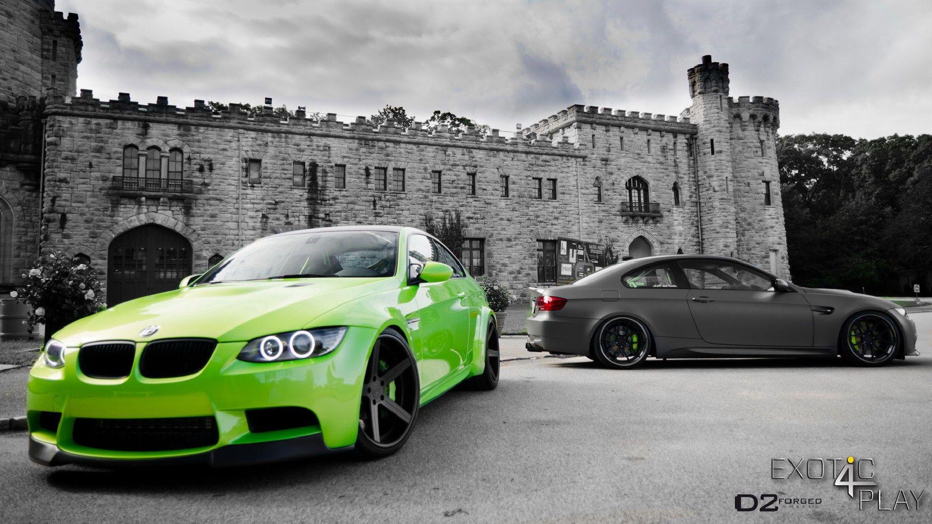 green vs. gray bmw m3 e92 castle original hd wallpaper