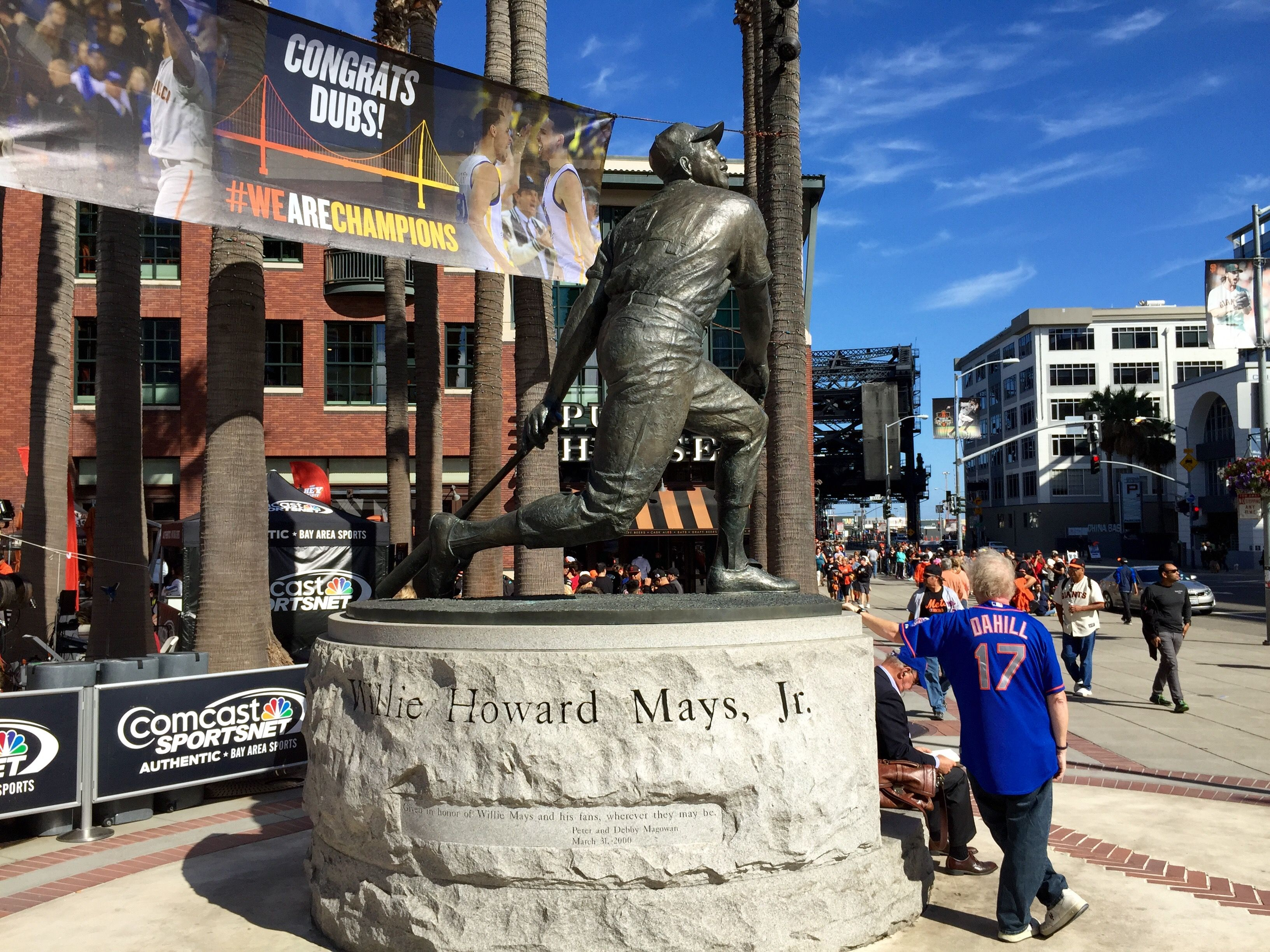 Statues of impactful players add build up excitement and home team pride before entering the ball park