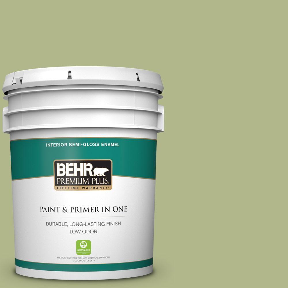 Behr Premium Plus 5 Gal M350 4 Sweet Grass Semi Gloss Enamel Low Odor Interior Paint And Primer In One Interior Paint Exterior Paint Behr