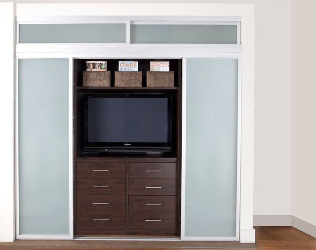 Tv In Closet Design Ideas Pictures Remodel And Decor Closet Design Tv In Bedroom Custom Sliding Doors