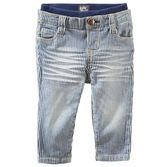 With hickory stripes, a hint of stretch and a soft ribbed waistband, these pants are perfect for your little man.<br>