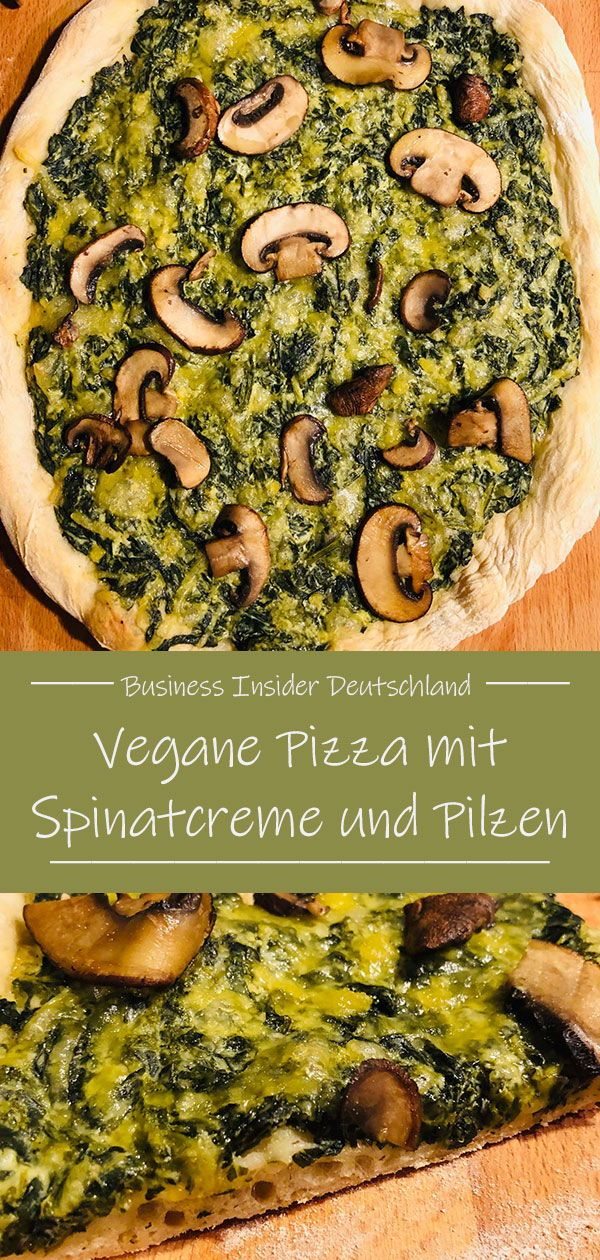 Vegane Pizza mit Spinat und Pilzen — lecker, gesund und komplett vegan #vejetaryentarifleri