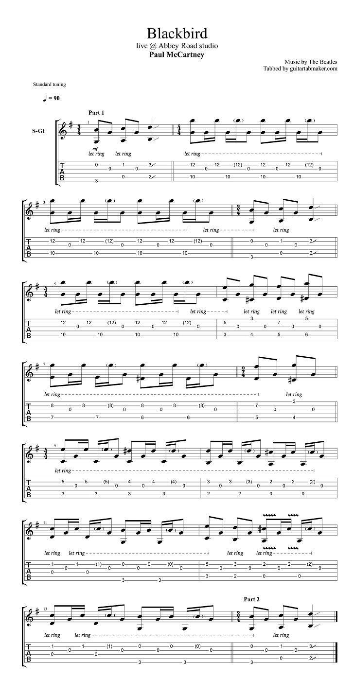 Paul Mccartney Blackbird Acoustic Guitar Tab Acoustic Fingerpicking Guitar Songs Pdf Aco Guitar Tabs Guitar Chords For Songs Classical Guitar Sheet Music
