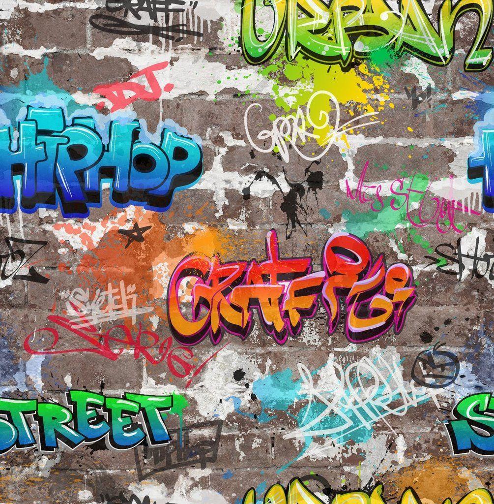 Urban Art Street Graffiti Brick Wall Area Rugs Kid Bedroom Living Room Floor Mat