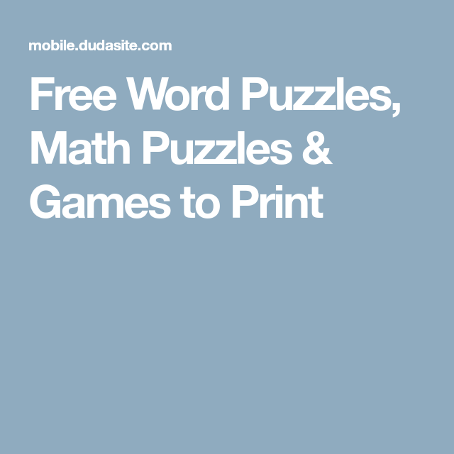 Free Word Puzzles, Math Puzzles & Games to Print | Iq | Pinterest ...